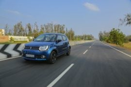 maruti ignis test drive review images action front angle tracking shot
