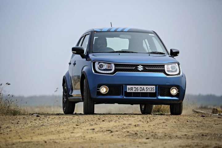 maruti suzuki ignis test drive review images front action