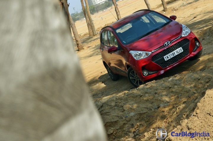 2017 hyundai grand i10 facelift test drive review front angle