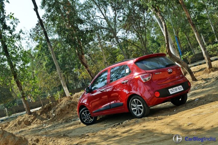 2017 hyundai grand i10 facelift test drive review rear angle