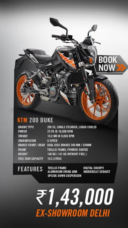 new 2017 ktm duke 200 price, specifications, top speed, mileage