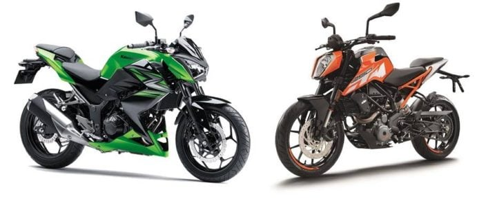 ktm duke 250 vs kawasaki z250 comparison images