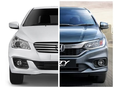 maruti ciaz vs honda city front