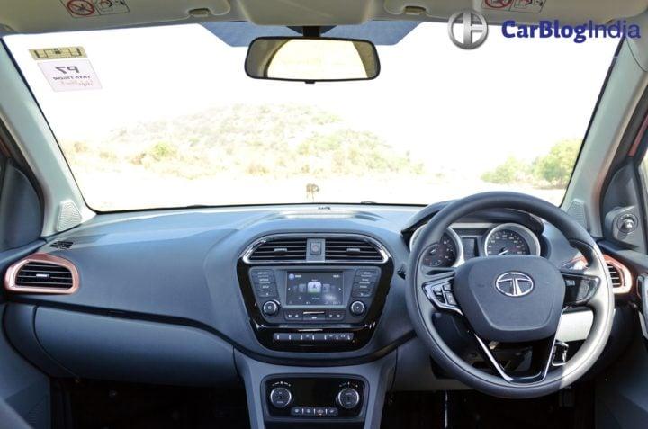 tata tigor test drive review images interior dashboard