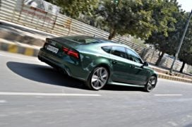 audi rs7 sportback performance review imgaes rear angle action shot