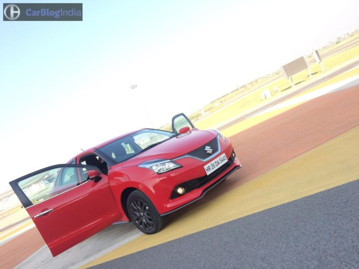 maruti baleno rs test drive review images front angle doors open