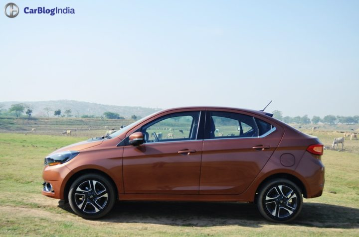 tata tigor test drive review side profile