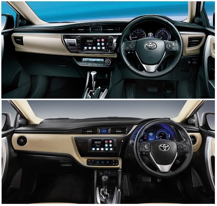 toyota corolla altis old vs new interiors