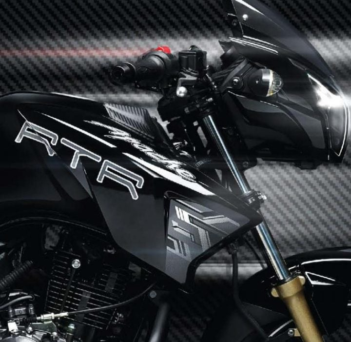 2017 TVS Apache RTR 180 Images side view black