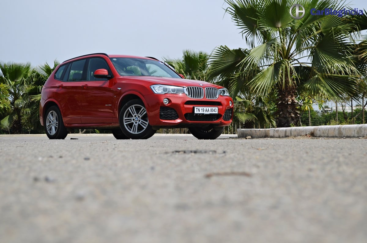 bmw x3 test drive review front angle carblogindia. Black Bedroom Furniture Sets. Home Design Ideas