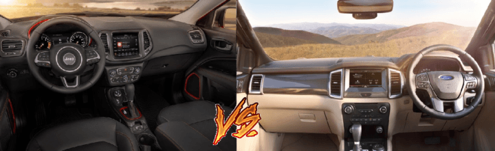 jeep compass vs ford endeavour comparison interior dashboard image