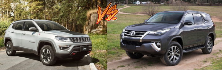 jeep compass vs toyota fortuner comparison front angle image