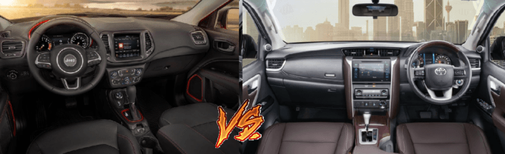 jeep compass vs toyota fortuner comparison interior dashboard image