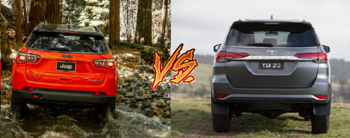 jeep compass vs toyota fortuner comparison rear angle image