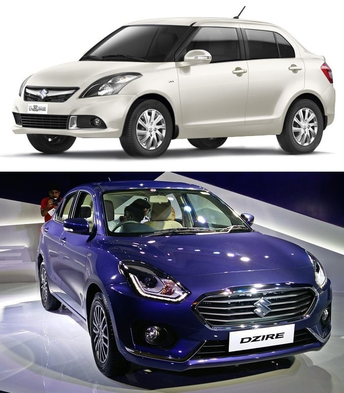 new 2017 maruti dzire vs old model comparison of price specs mileage features. Black Bedroom Furniture Sets. Home Design Ideas