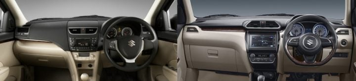 maruti dzire old vs new interiors