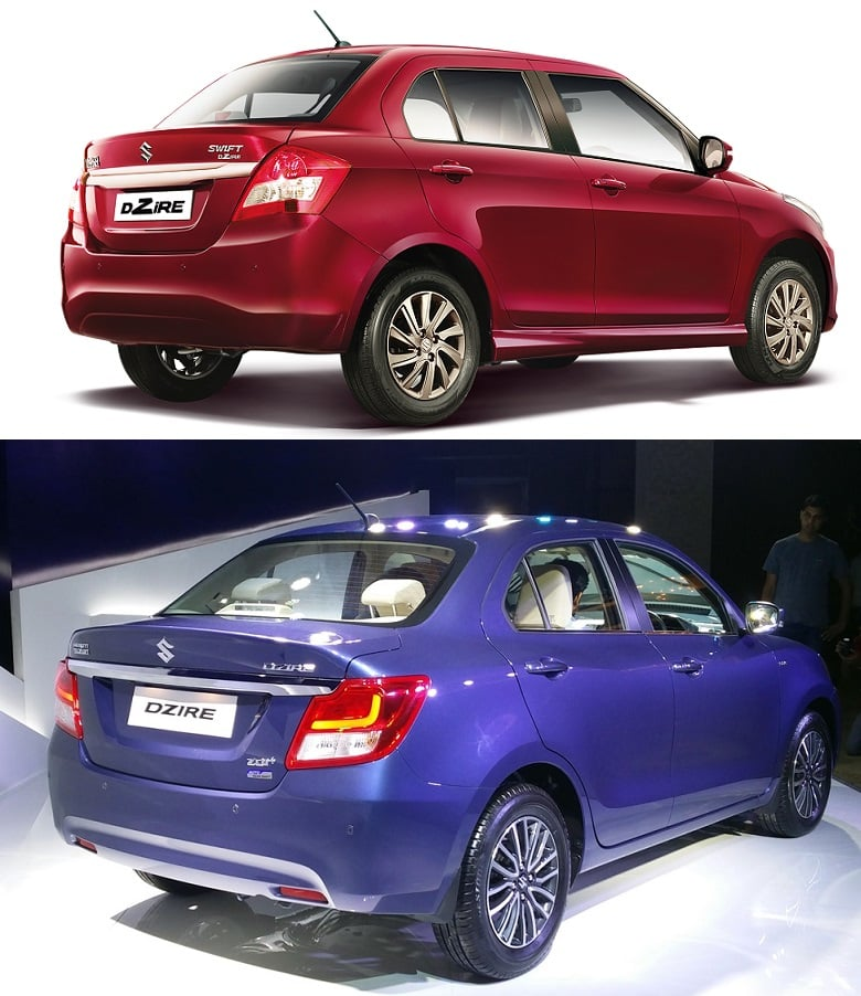 New 2017 Maruti Dzire vs Old Model rear