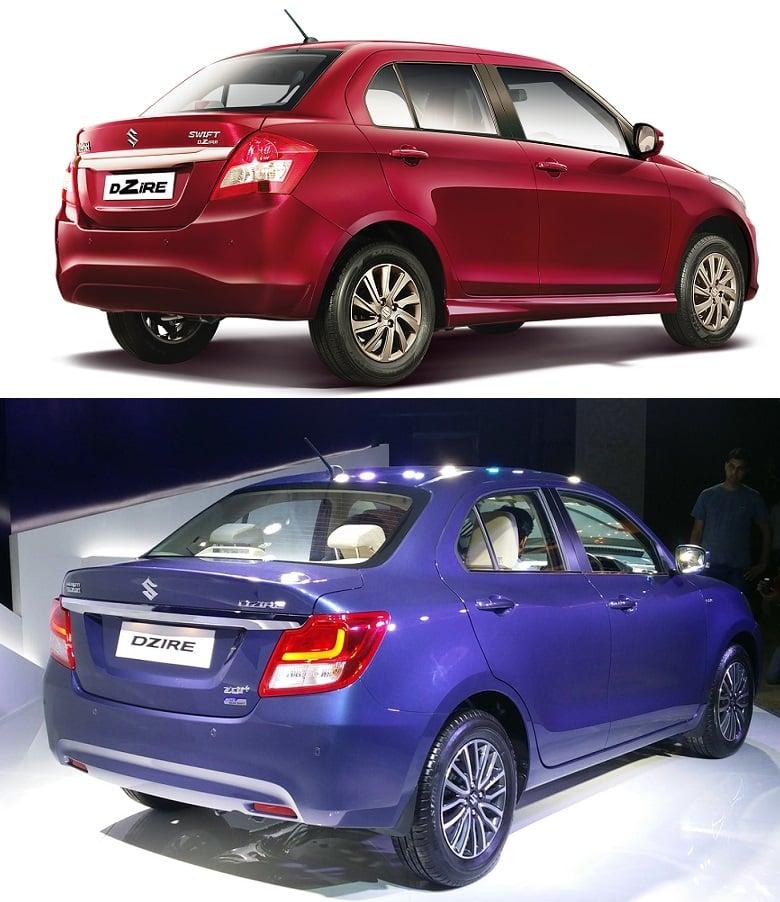 New 2017 Maruti Dzire vs Old Model rear