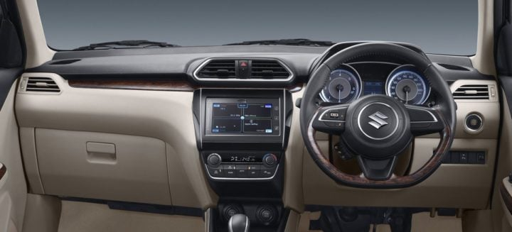 new 2017 maruti dzire review of interior dashboard