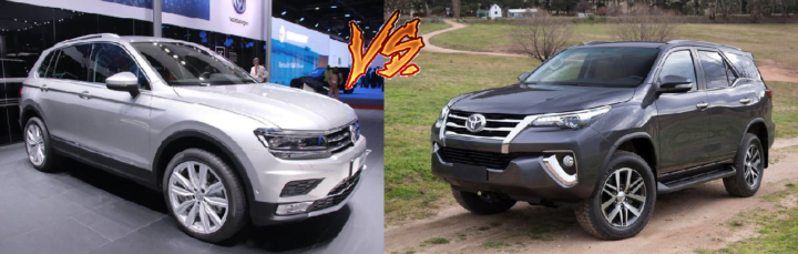 volkswagen tiguan vs toyota fortuner comparison front angle image