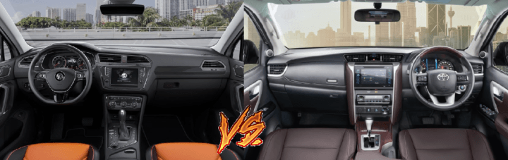 volkswagen tiguan vs toyota fortuner comparison interior dashboard image