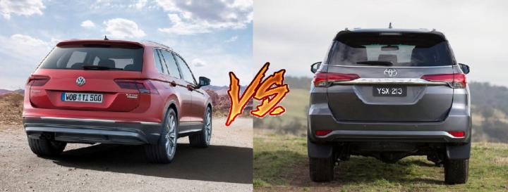 volkswagen tiguan vs toyota fortuner comparison rear angle image