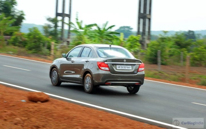 2017 maruti dzire test drive review rear angle