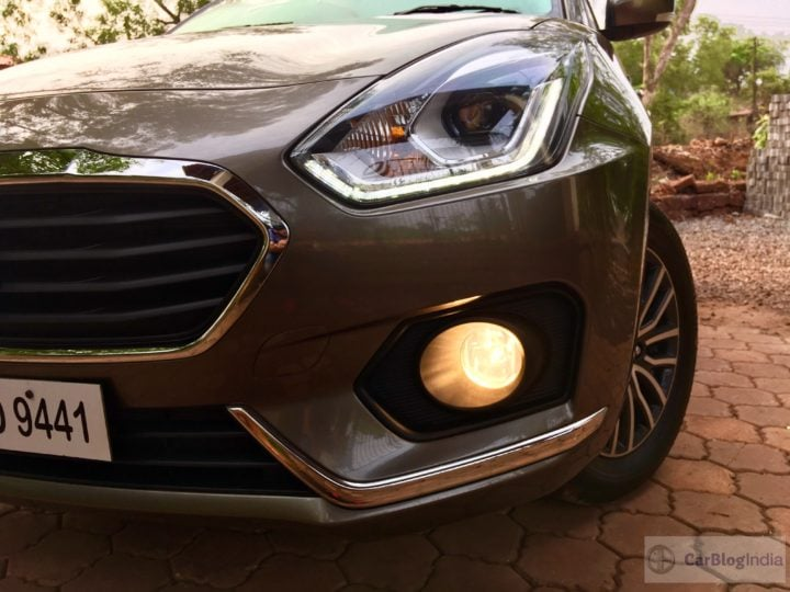 2017 maruti dzire test drive review front headlight foglight