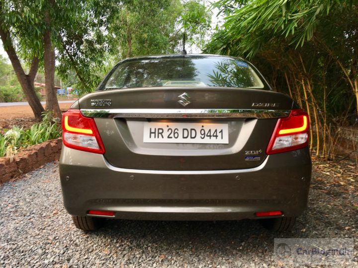 2017 maruti dzire review rear angle