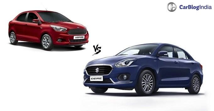 2017 maruti dzire vs ford aspire comparison