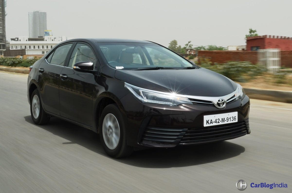 2017 toyota corolla altis test drive review front angle carblogindia. Black Bedroom Furniture Sets. Home Design Ideas