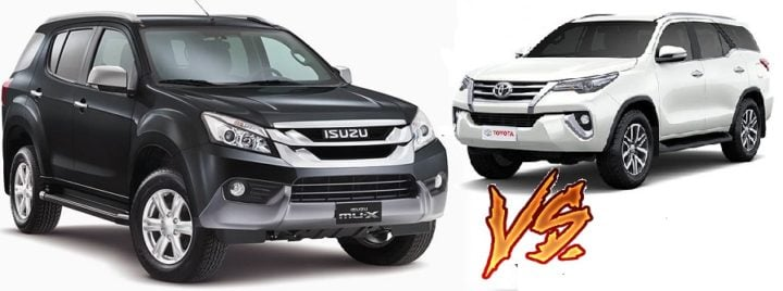 isuzu mu x vs toyota fortuner comparison front angle