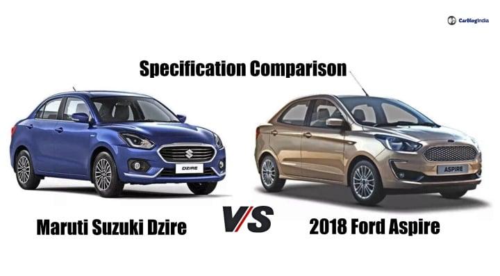 New 2017 Maruti Dzire vs Ford Aspire Facelift- Specification Comparison