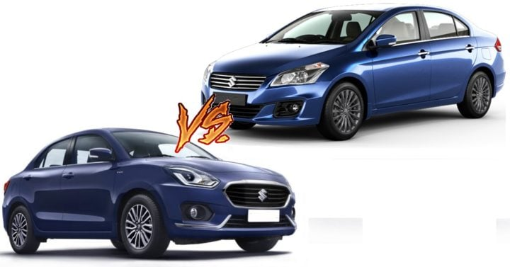 new 2017 maruti dzire vs maruti ciaz comparison images