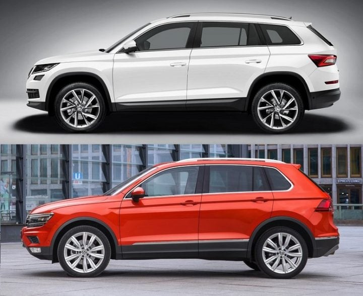 skoda kodiaq vs volkswagen tiguan comparison of price specifications mileage dimensions. Black Bedroom Furniture Sets. Home Design Ideas