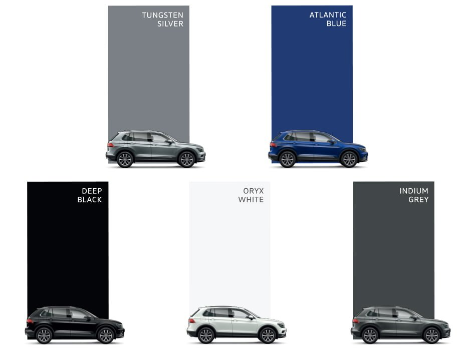 volkswagen tiguan india colours