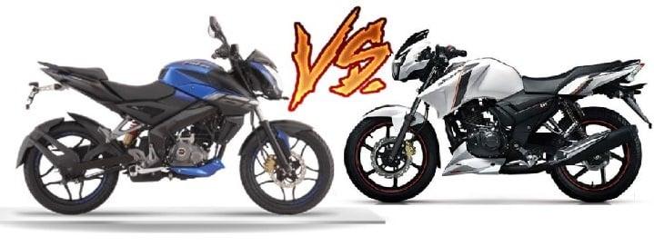 Compare Bajaj Pulsar Ns 160 Vs Tvs Apache Rtr 160 Price Specs