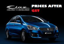 maruti ciaz price after gst