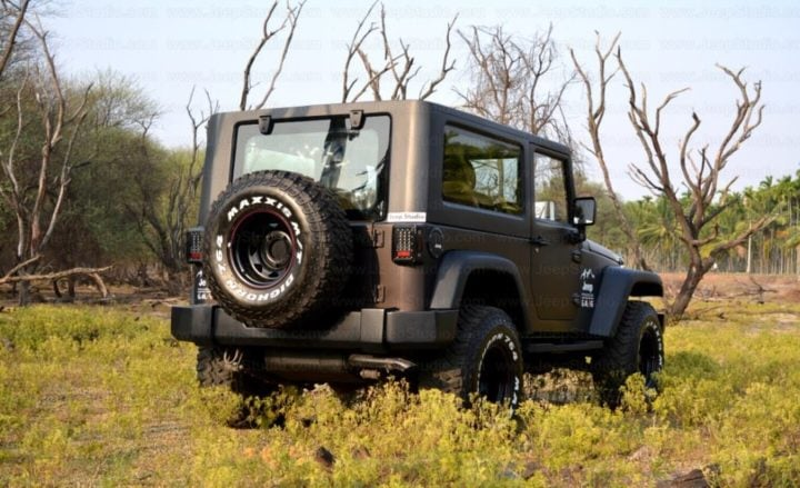 Mahindra Thar to Jeep Wrangler Modification by Jeep Studio Rear Angle Image