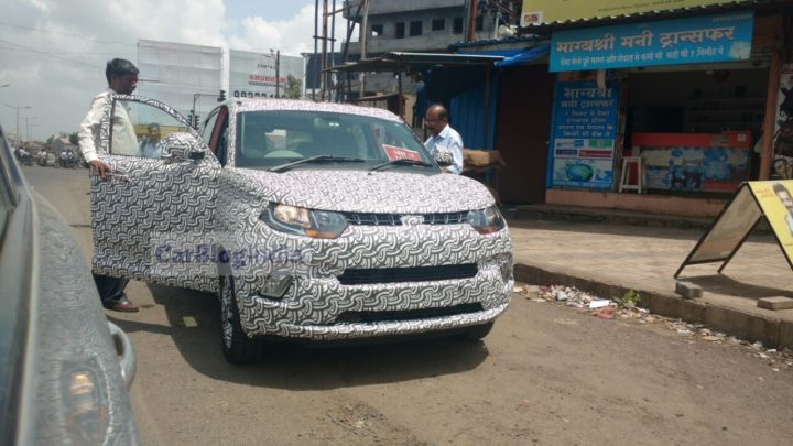 new 2017 mahindra kuv100 facelift spy images front angle