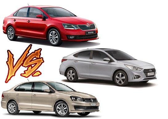 2017 Hyundai Verna vs Skoda Rapid vs VW Vento
