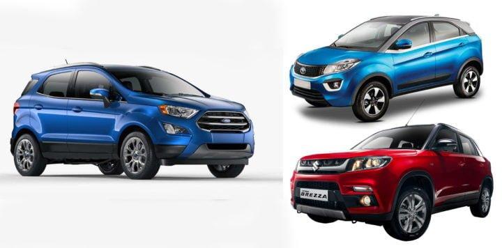 new 2017 ford ecosport vs tata nexon vs vitara brezza comparison image
