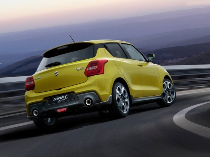 new maruti swift sport images rear angle action