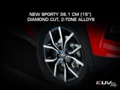 mahindra kuv100 nxt facelift images action front angle alloy wheels