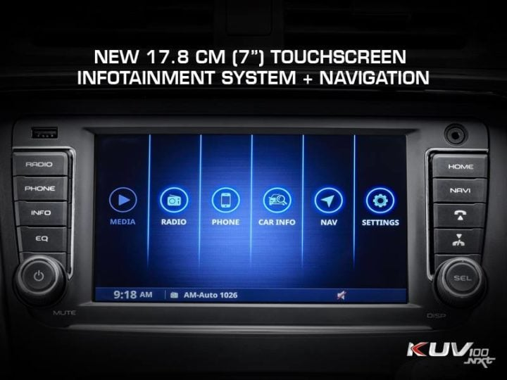 mahindra kuv100 nxt facelift images touchscreen infotainment