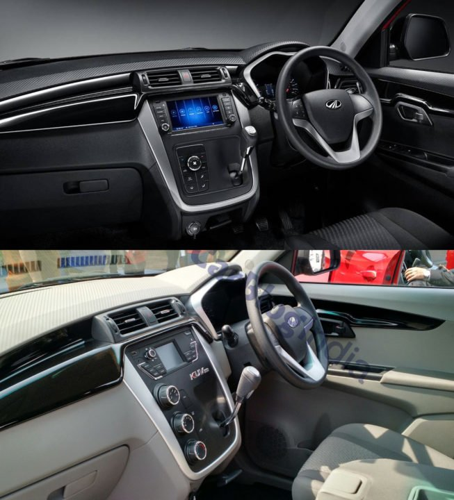 mahindra kuv100 nxt vs old model interior dashboard images
