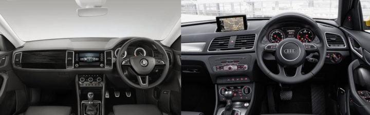 skoda kodiaq vs audi q3 interior comparison