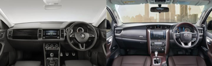 skoda kodiaq vs toyota fortuner interior comparison