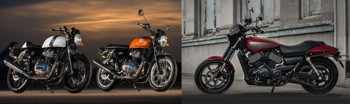 royal enfield interceptor int 650 vs harley davidson street 750