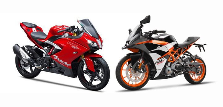 tvs apache rr 310 vs ktm rc390 comparison of price specifications